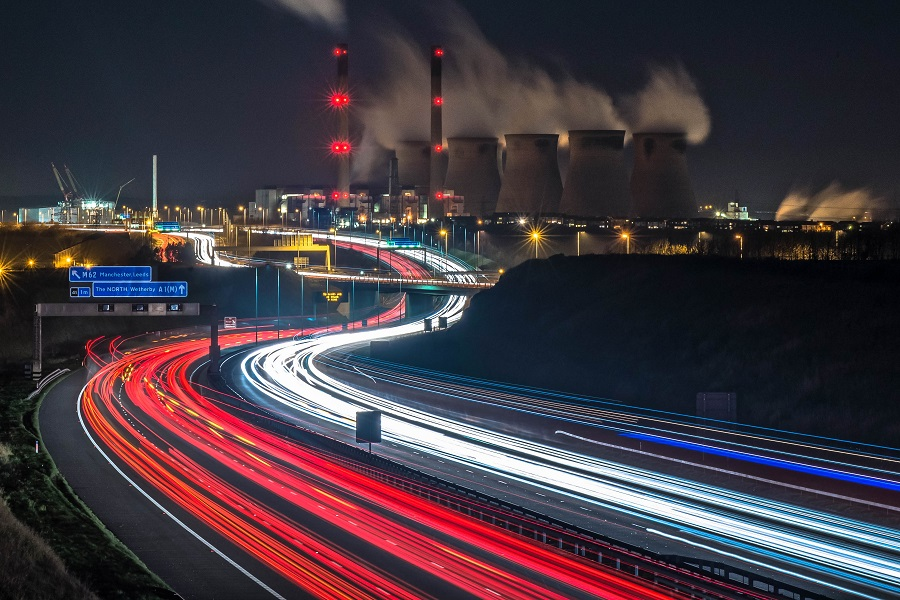 Ferrybridge Power Station at night