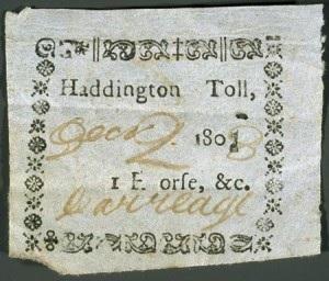 Turnpike Toll Ticket - Haddington