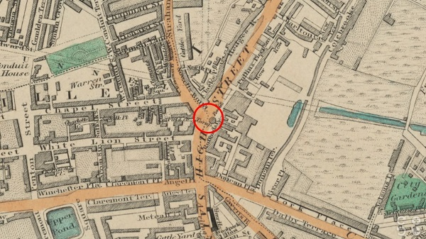 Location of Turnpike Gate - Islington - Greenwood Map